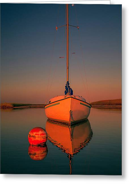 Red Sunrise Reflections On Sailboat Greeting Card by Dapixara Art