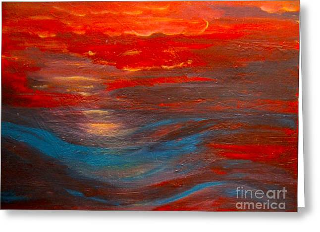 Red Sunset Abstract  Greeting Card by Nancy Rucker