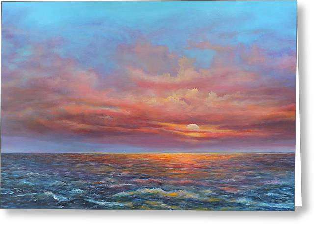 Red Sunset At Sea Greeting Card