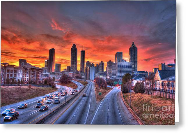 Red Sunset Atlanta Downtown Cityscape Greeting Card by Reid Callaway