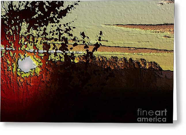 Red Sunset Greeting Card by Erica Hanel