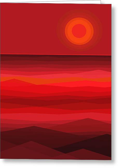 Red Sunset Greeting Card by Val Arie