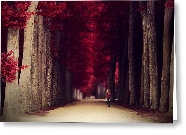 Red Surreal Path In A Park In Paris Greeting Card by Sandra Rugina