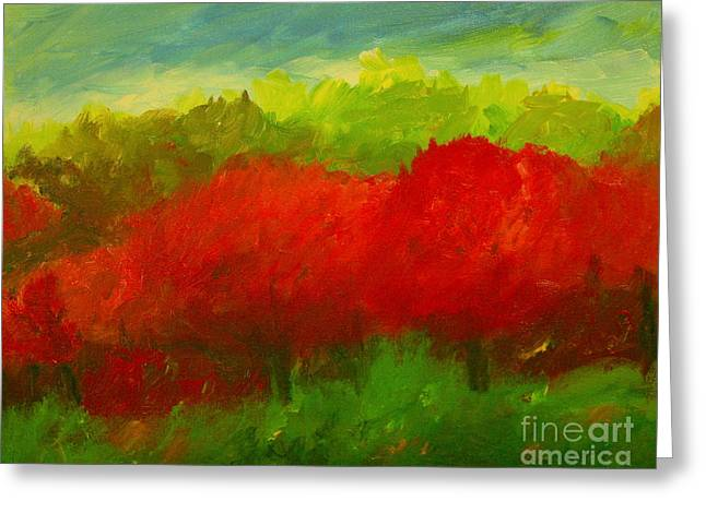Red Sweet Cherry Trees Greeting Card by Julie Lueders