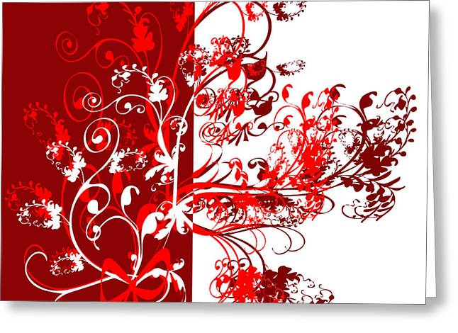 Red Swirl Greeting Card by Svetlana Sewell