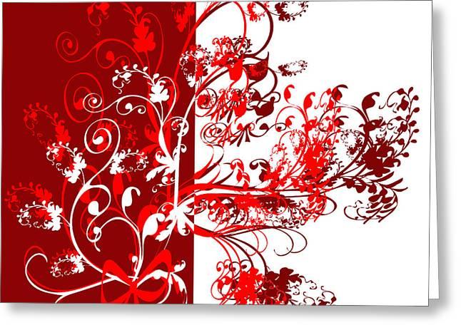 Red Swirl Greeting Card by Svetlana Sewell