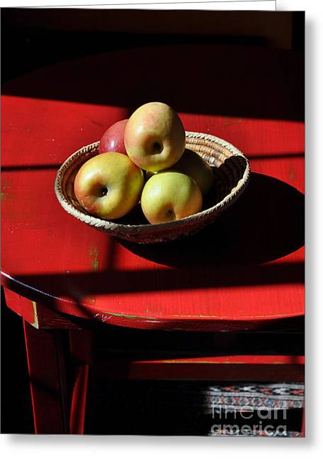 Red Table Apple Still Life Greeting Card