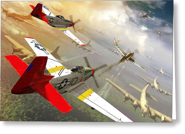 Red Tail Escort  Greeting Card