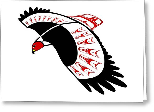 Red Tail Hawk 3 Nw Style Greeting Card by Fred Croydon