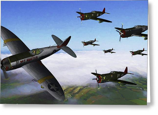Red Tail Thunderbolts -0il Greeting Card by Tommy Anderson