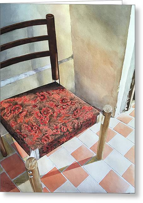 Red Tapestry Chair Greeting Card