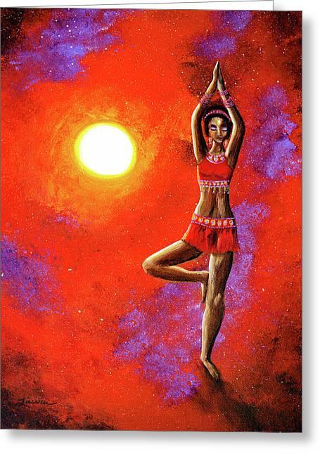 Red Tara Yoga Goddess Greeting Card by Laura Iverson