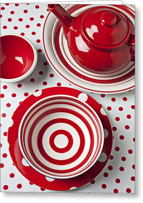 Ceramic Greeting Cards - Red Teapot Greeting Card by Garry Gay
