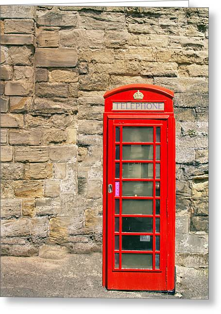 Red Telephone Booth Greeting Card by Georgia Fowler