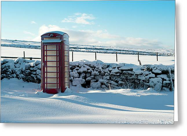 Red Telephone Box In The Snow V Greeting Card