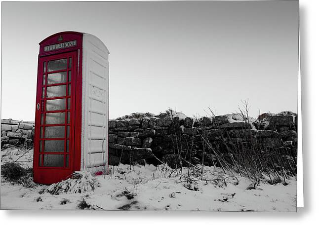 Red Telephone Box In The Snow Vi Greeting Card