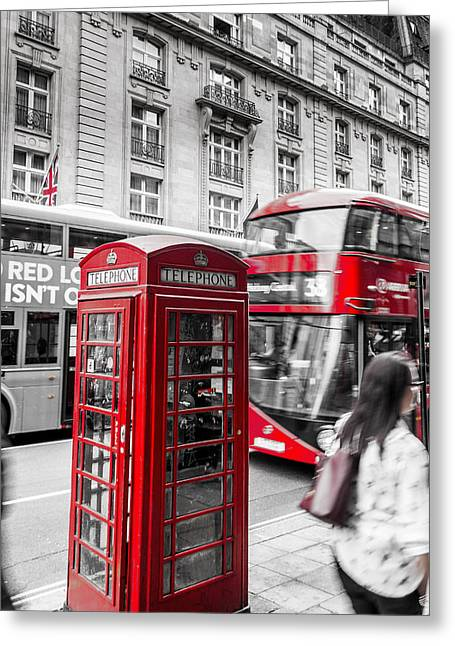 Red Telephone Box With Red Bus In London Greeting Card