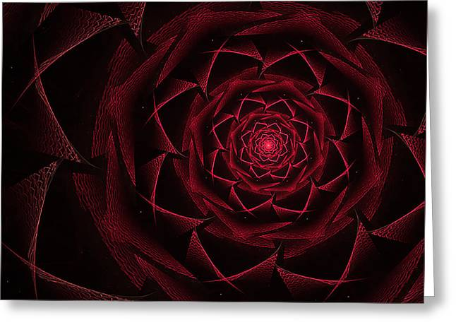 Red Textile Rose Greeting Card