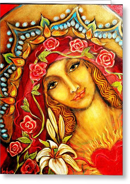 Red Thread Madonna Greeting Card by Molly Indura