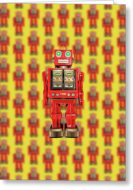 Greeting Card featuring the photograph Red Tin Toy Robot Pattern by YoPedro