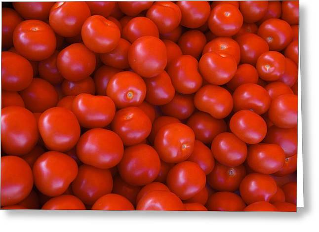 Red Tomatoes For Sale At Market Greeting Card by Keenpress
