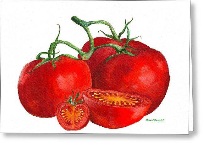 Red Tomatoes Greeting Card by Nan Wright
