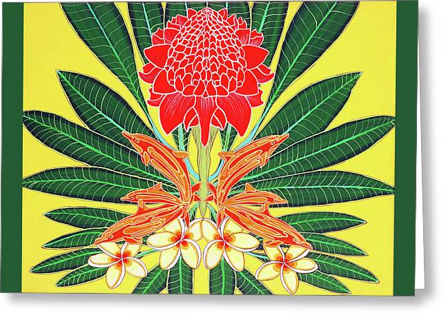 Red Torch Ginger Greeting Card by Debbie Chamberlin