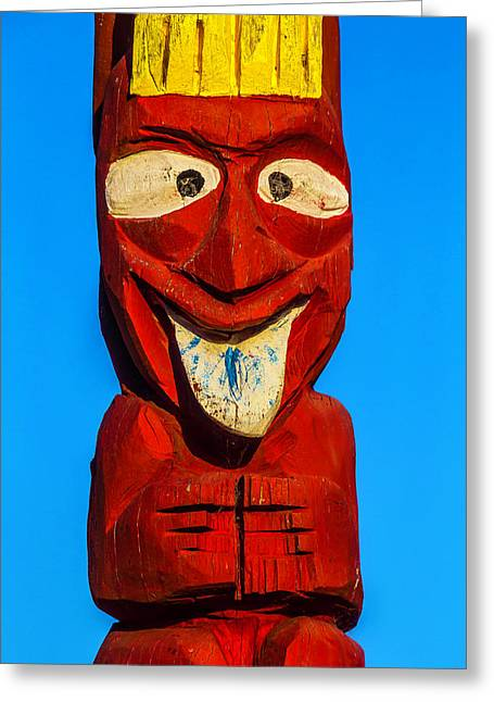 Red Totem Pole Greeting Card by Garry Gay