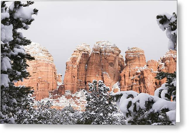 Red Towers Under Snow Greeting Card by Laura Pratt