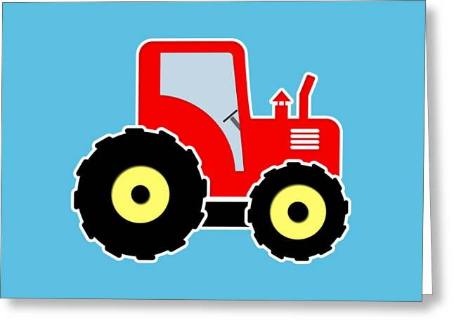 Red Toy Tractor Greeting Card