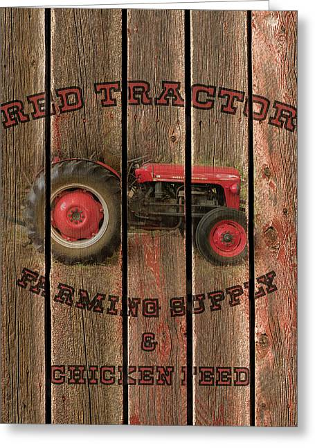 Red Tractor Farming Supply Greeting Card