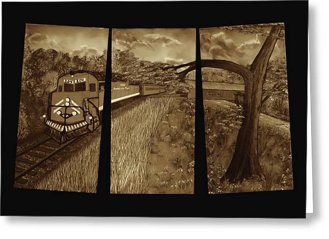 Red Train Passage - Sepia Greeting Card by Claude Beaulac