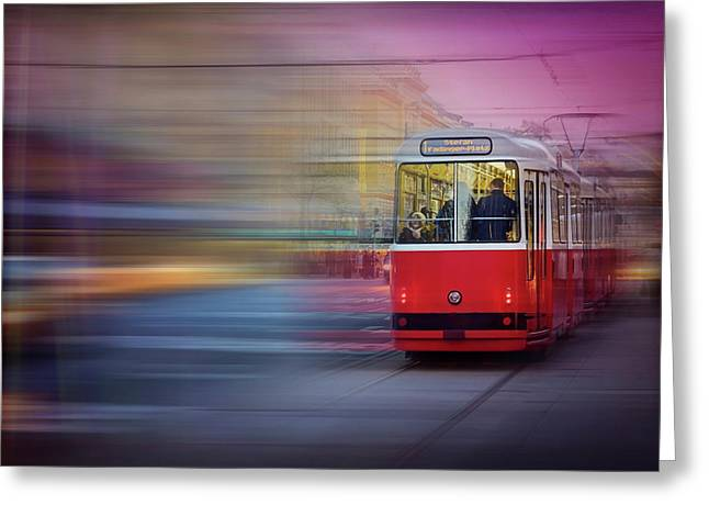 Red Tram In Vienna  Greeting Card