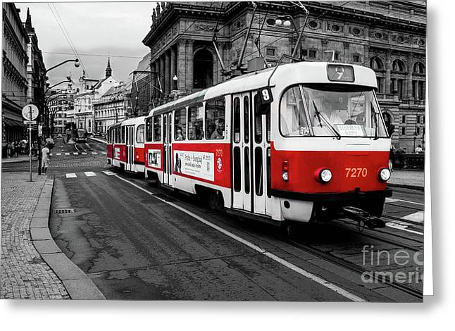 Prague - Red Tram Greeting Card