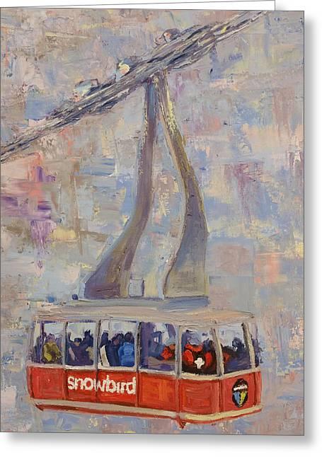 Red Tram Greeting Card