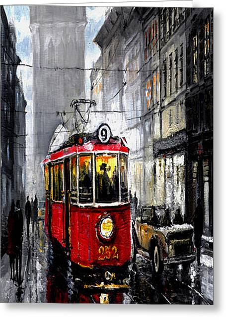 Red Tram Greeting Card
