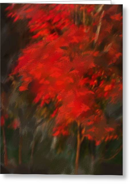 Red Tree Greeting Card by Claire Whitehead
