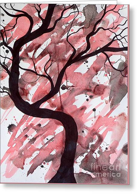 Red Tree Enchantment Greeting Card