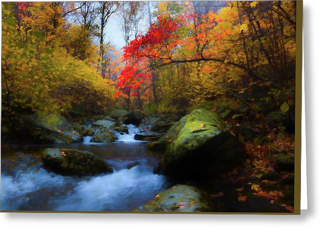 Red Tree In White Oak Canyon Greeting Card
