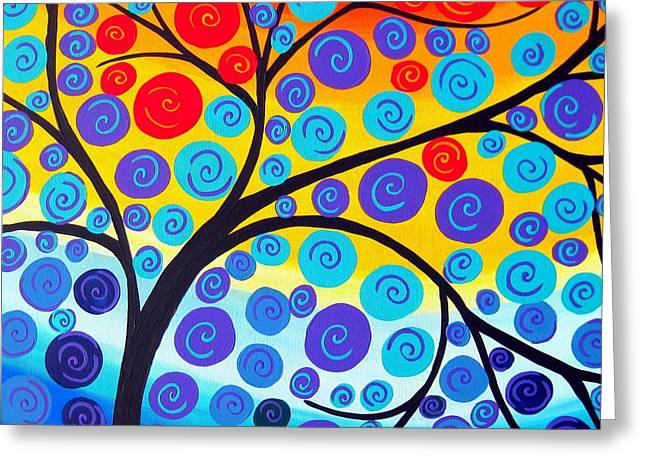Red Tree Of Life Greeting Card by Cathy Jacobs