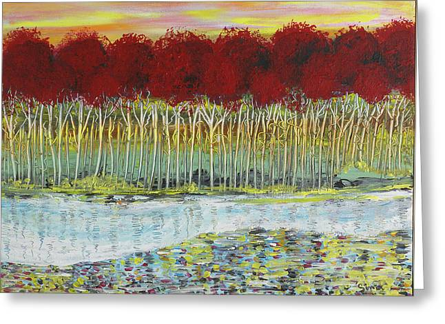 Red Trees At Water Greeting Card