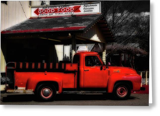 Red Truck Jimtown Store Greeting Card by Garry Gay