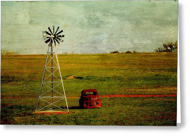 Red Truck Red Dirt Greeting Card by Toni Hopper