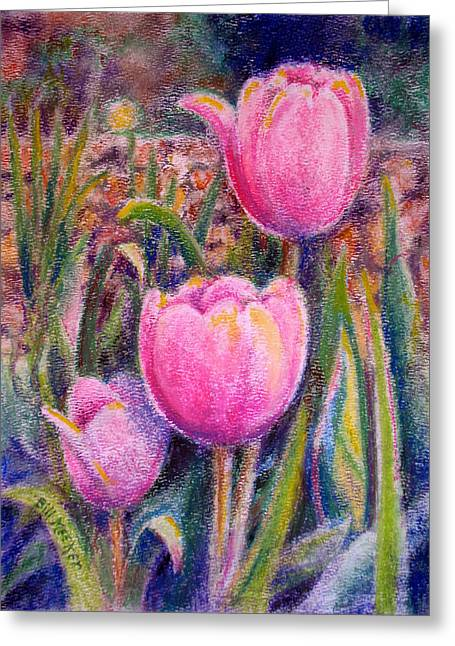Red Tulip Trio Greeting Card by Bill Meeker
