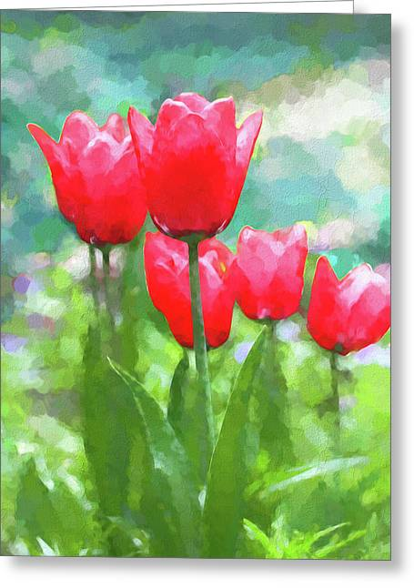 Greeting Card featuring the photograph Red Tulips Flowers In Spring Time by Jennie Marie Schell