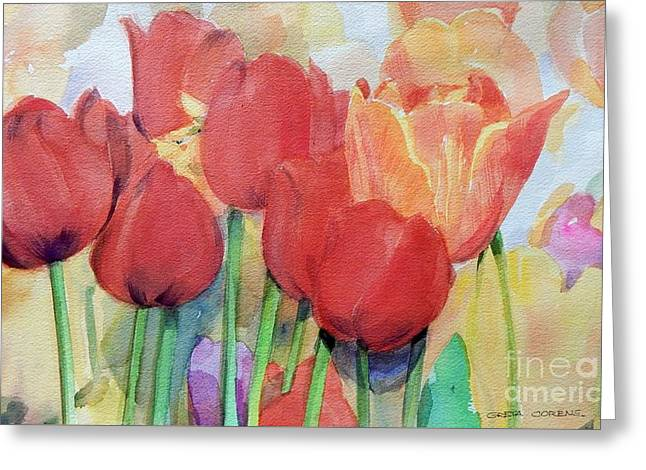 Watercolor Of Blooming Red Tulips In Spring Greeting Card