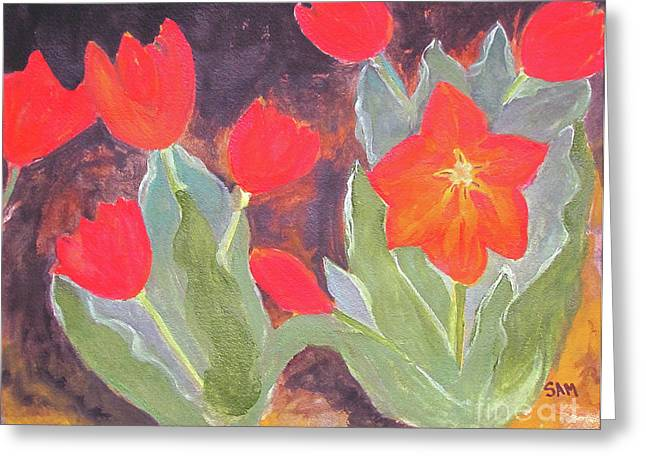 Greeting Card featuring the painting Red Tulips by Sandy McIntire