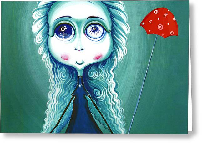 Red Umbrela - Girl With Big Eyes And Red Umbrella - Unusual Art Greeting Card