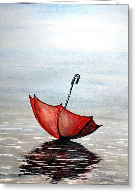 Red Umbrella Greeting Card by Edwin Alverio