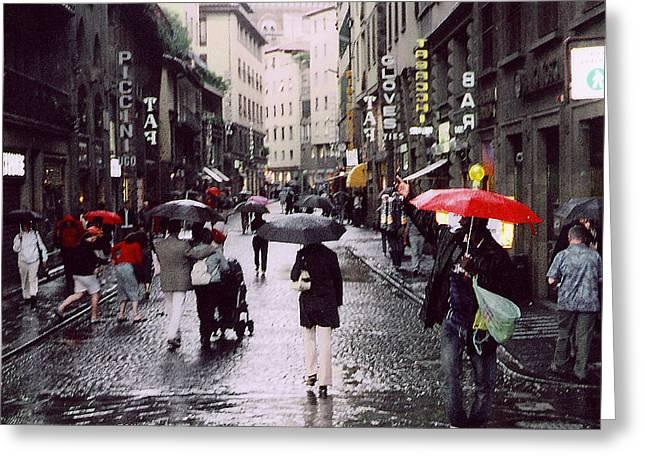 Red Umbrella In The Rain Greeting Card by Richard Danek
